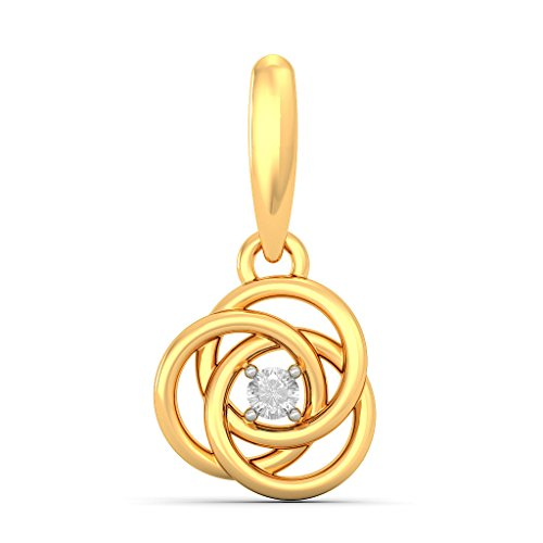 Or jaune 14 K 0,06 CT TW White-diamond (IJ | SI) Pendants d'oreilles