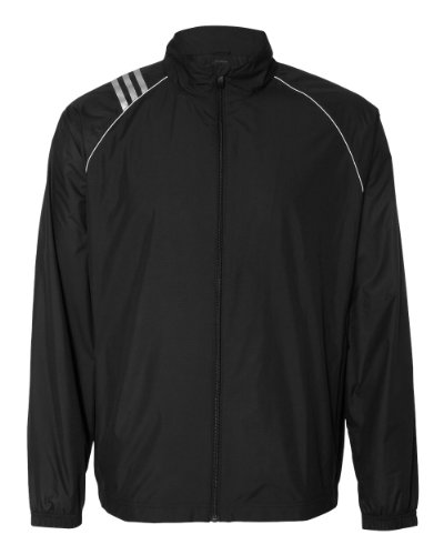 adidas A169 Mens 3-Stripes Full-Zip Jacket - Black & White, XL