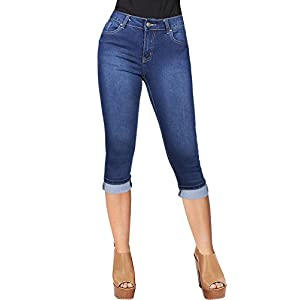 2LUV Women's Classic Stretchy 5 Pocket Skinny Capri Jeans Medium Blue 1