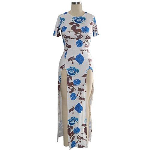 Coolred-femmes Clubwear Imprimé Floral Sexy Manches Courtes Haut Fendu Bleu Longue Robe Maxi