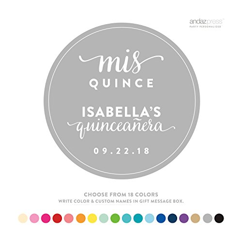 Andaz Press Personalized Circle Labels, Birthday, Sweet 15, Mis Quince Quinceanera, 40-Pack - Custom Made Any Name, Color