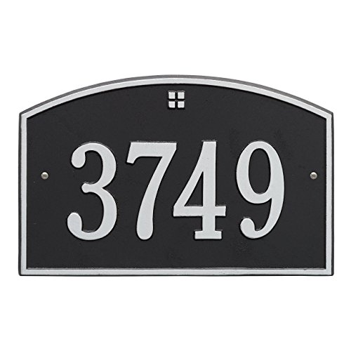 (Whitehall Products Rectangular Black/Silver Cape Charles Standard Wall One Line Address Plaque)