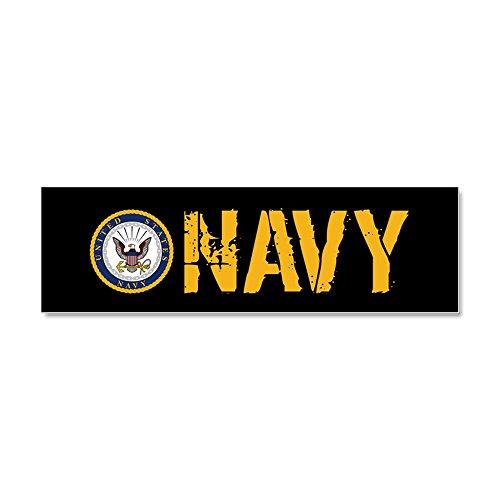 CafePress - U.S. Navy: Navy (Black) - Car Magnet 10 x 3, Magnetic Bumper Sticker