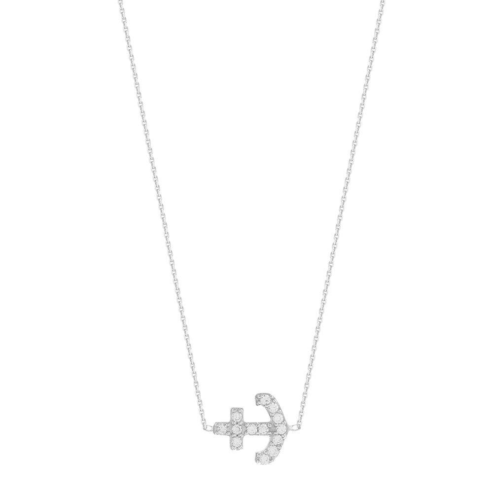 Sterling Silver East 2 West Anchor Necklace Adjustable
