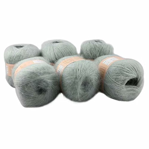 Celine lin 6 Skeins Smooth &Warm Angola Mohair Plush Cashmere Wool Knitting Yarn 300g,Light grey ()