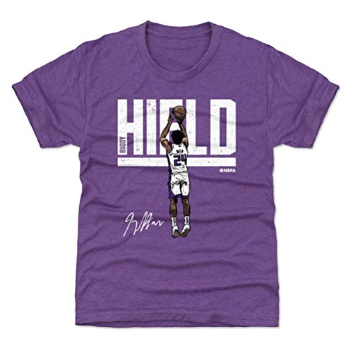 (500 LEVEL Sacramento Basketball Youth Shirt - Kids X-Large (14-16Y) Heather Purple - Buddy Hield Hyper W WHT)