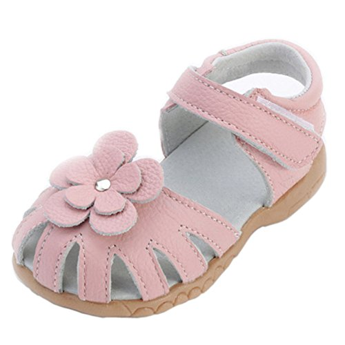 Orgrimmar Girls Sandals Genuine Leather Soft Flower Princess Flat Shoes Girl Summer Sandals Closed Toe Shoes(11 M US -