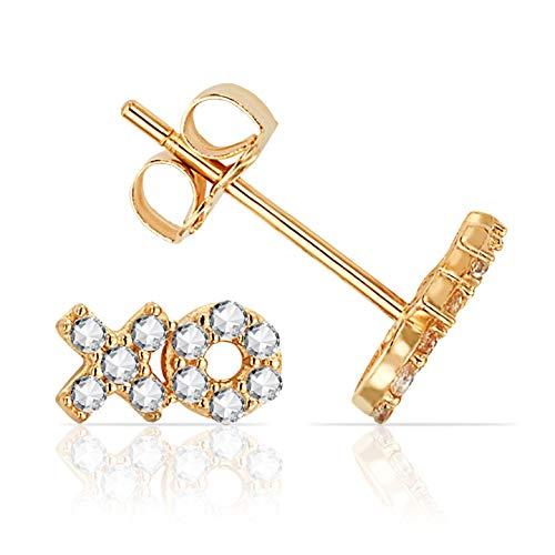 Jewels Company CZ Cubic Zirconia XO Stud Earrings in Solid 14K Yellow Gold ()