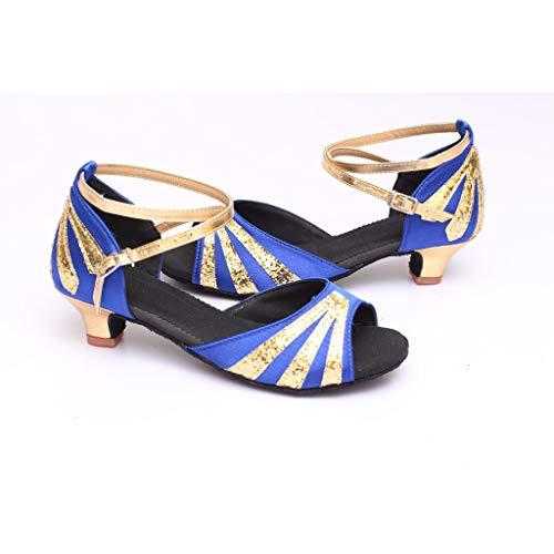 Latine Chaussures De Talons Bas Chaussons À Femmes Danse Été Bleu Waltz Mode Rumba Sandales Manadlian UqwAU0