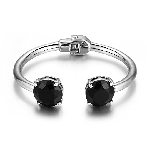HONGYE JEWELRY Women's Plate Gold Silver Spring Hinge Inlaid Black Resin Open Bracelet (silver-plated-base)