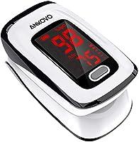 Fingerpulsoximeter, Blodsyremättnadsmonitor, Pulsmätare och SpO2-nivåer, Bärbar Pulsoximeter med Snodd och Batterier (Vit)
