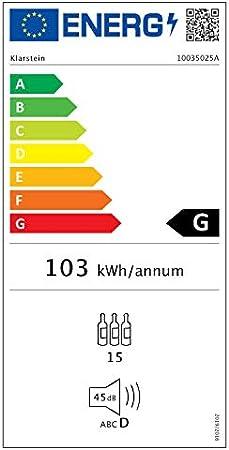 Klarstein Shiraz Slim Uno - Nevera para vinos, Eficiencia energética Ge Clase G, 5-18 °C, 42 dB, Panel táctil, Iluminación LED, Altura regulable, 4 baldas, 44 litros, Para 15 botellas de vino, Negro[Clase de eficiencia energética G]