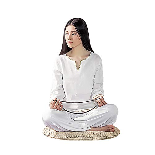 (KSUA Womens Zen Meditation Suit Tai Chi Uniform Kung Fu Clothing (White, US S))