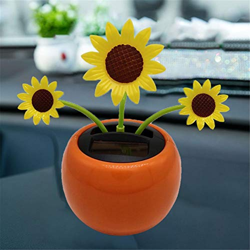Solar Powered Shaking Head Dancing Flower Toy For Car Dashboard Decor Automatic Kids Gift Sunflower Interior Display Decoration Ornament Home Swinging Happy Office Desk Swing Auto Dance Toys Decorati