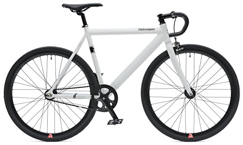 Retrospec Bicycles Drome Track Urban Commuter Bike Fixed-Gear/Single-Speed with Sealed Bearing Hubs, White, 58cm/Large