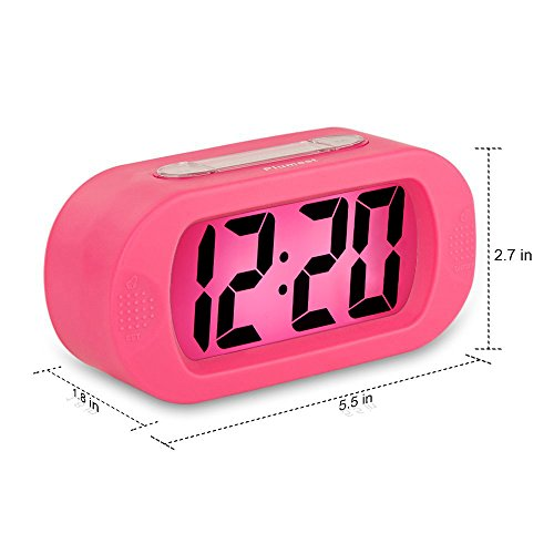 Easy to Set, Plumeet Large Digital LCD Travel Alarm Clock with Snooze Good Night Light, Ascending Sound Alarm & Handheld Sized, Best Gift for Kids (Pink)
