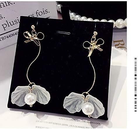 Pendientes de perlas con lazo Mujer Temperamento de niña coreana Pendientes de borla de concha dulce Mujer