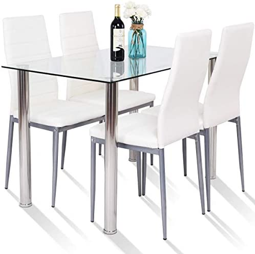 Tangkula 5 PCS Dining Table Set Modern Tempered Glass Top,kitchen & dining room furniture