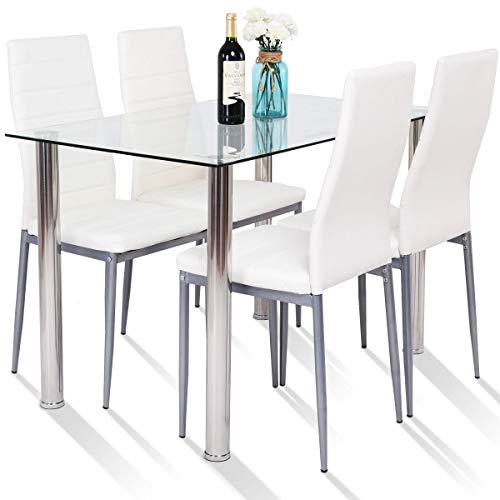 Tangkula 5 PCS Dining Table Set Modern Tempered Glass Top and PVC Leather Chair w/4 Chairs Dining Room Kitchen Furniture White and Silver
