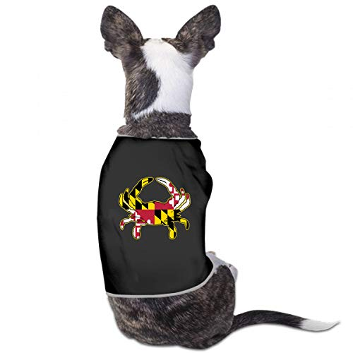 XUGGL Dog Outdoor Clothes Maryland Flag Crab Isolated Tank Top Soft Cotton Dog Night ()