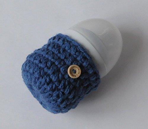 Handmade Crochet Baby Bottle Cover Warmers Cozy Infant Accessory Gift Handmade High Quality - Denim Blue