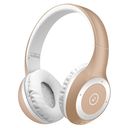 Price comparison product image Larger Wireless Bluetooth Headphones,Sunfei Stereo Bluetooth Headphones Wireless Headset Foldable Gaming Headset Earphone V4.0 with Mic for Pc Mac SmartPhones (Gold)
