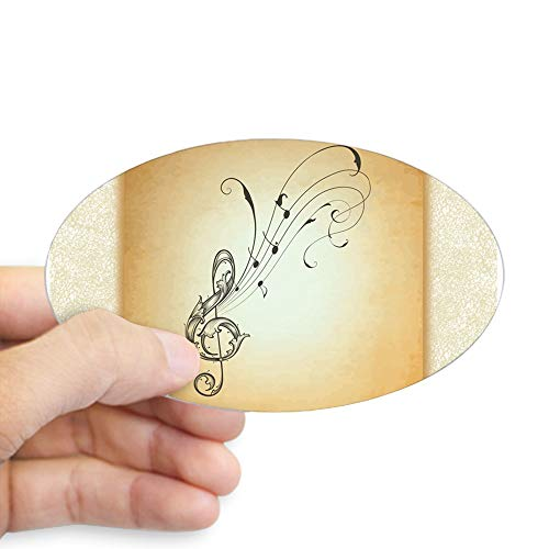 Sticker (Oval) Musician Treble Clef Music Notes