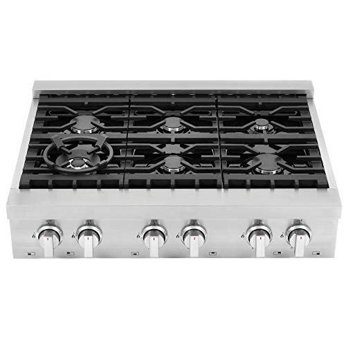Cosmo COS-GRT366| Pro-Style Slide-In Counter Gas-Cooktop 36 inch | 6 Italian-Made Burner Range-Top, Dual Ring Stove, Dishwasher-Safe Cast Iron Grate, Metal Front Knob Control Panel ( Stainless-Steel )