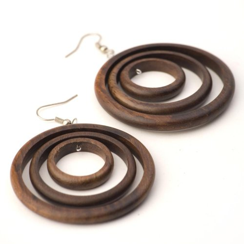 Brown Dangle Earrings (81stgeneration Women's Wood .925 Sterling Silver Round Brown Dangle Hoop)