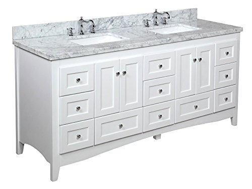 Kitchen Bath Collection KBC3872WTCARR Abbey Bathroom Vanity with Marble Countertop, Cabinet with Soft Close Function and Undermount Ceramic Sink, Carrara/White, 72
