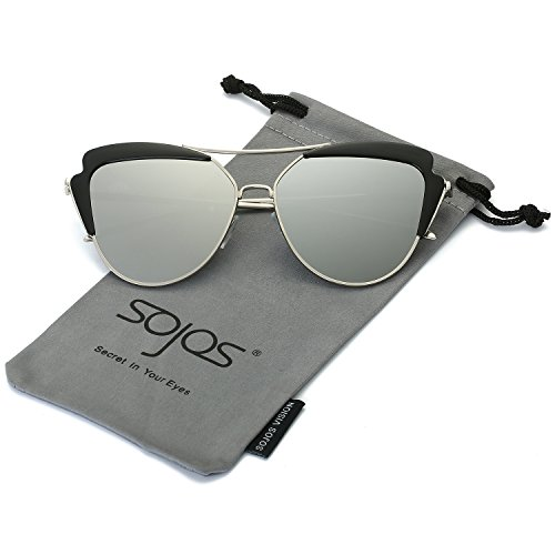 SojoS High Fashion Metal Frame Flash Mirrored Cateye Womens Sunglasses SJ1061 With Silver Frame/Silver - Sunglasses Head For Best Large