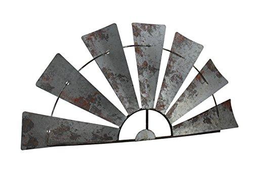 Special T Imports Galvanized Metal Half-Windmill Wall Sculpture (Half Mantel)