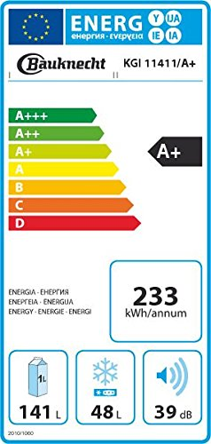 Bauknecht KGI 11411/A+ Einbau-Kühl-Gefrier-Kombination / A+ / Kühlen: 141 L / Gefrieren: 48 L / Weiß / Schlepptürmontage / Abtauautomatik