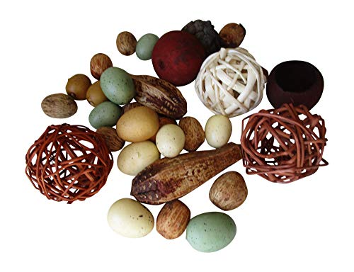 From The Attic Crafts Mini Speckled Egg Set - Twig Balls, Pods, Seeds Bowl Filler Set Blue, Cream and Tan 23 Pieces