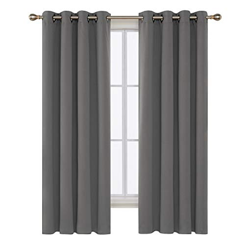 84l Panel (Deconovo Solid Room Darkening Curtains Thermal Insulated Blackout Curtains Grommet Blind Curtains for Bedroom 52W x 84L Inch Light Grey 2 Panels)