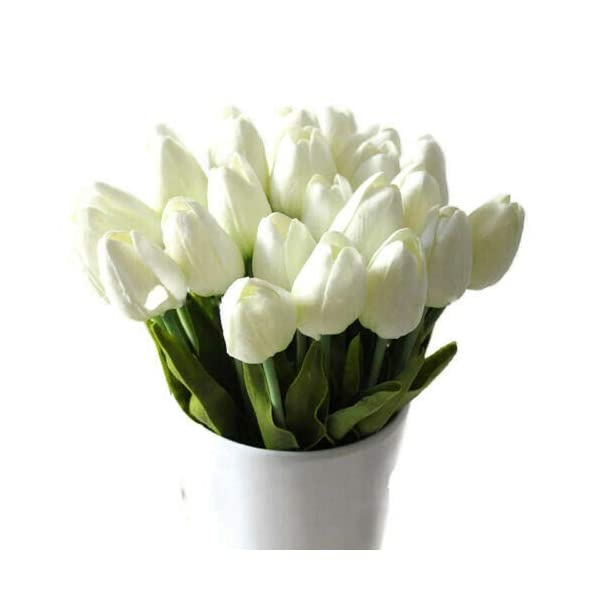 Floral Kingdom 10″ Mini Tulips Real Touch Latex PU Spring Flowers Home Decor, Wedding Bouquets centerpieces (24 PCS) (White)