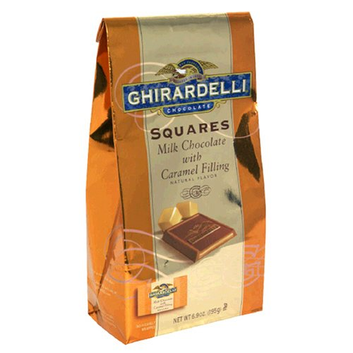 Ghirdelli Squares, Milk Chocolate with Caramel Filling, 5.32-Ounce Bags (Pack of 4)