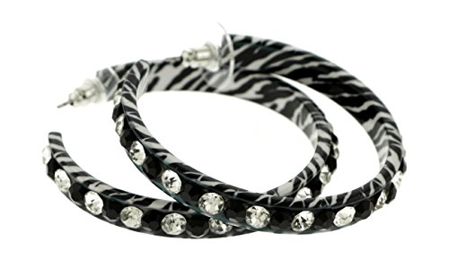 (Black And White Zebra Stripe Hoop Earrings With Faceted Rhinestone Accents EHP89)