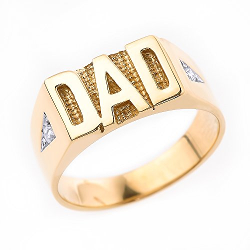 10k Gold Dad Diamond Ring - 8