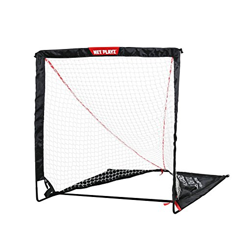 NET PLAYZ 6 x 6 x 6 Feet Lacrosse Goal Fast Install, Fiberglass Frme, Lightweight, Foldable, Portable, Carry Bag Included, With 1 Extra Target Pane