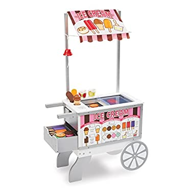 Melissa & Doug Wooden Snacks and Sweets Food Cart 40+ Play Food pcs, Reversible Awning