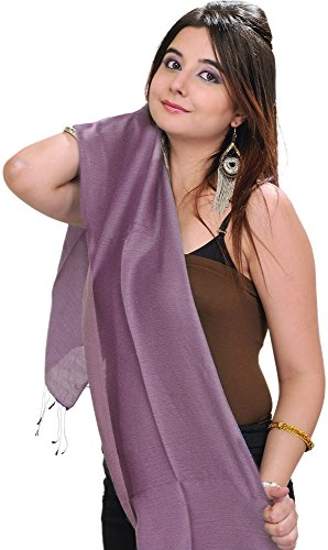 Exotic India Plain Reversible Water-Pashmina Scarf from - Color Regal Orchid