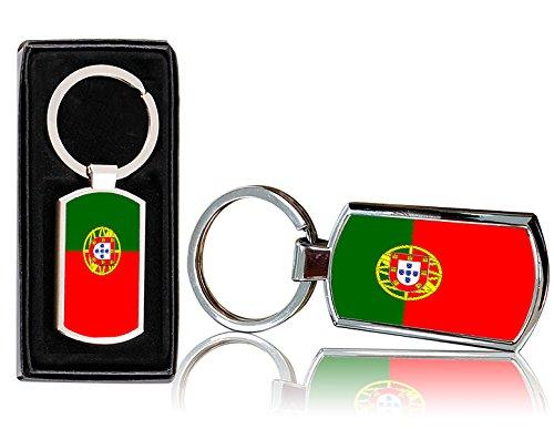 VVM Tech Portugal Motif drapeau Imprimé en métal chromé rectangulaire Porte-clés avec boîte cadeau gratuit–0060