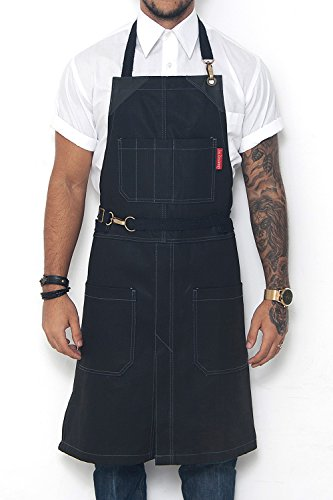 Under NY Sky No-Tie Blackout Black Apron – Coated Denim with Leather Reinforcement, Split-Leg, Adjustable for Men and Women – Pro Barber, Tattoo, Barista, Bartender, Hair Stylist, Server (Out Aprons)