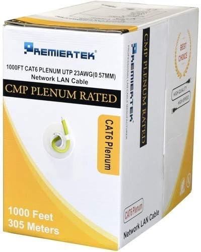 Premiertek Plenum CMP CAT6 1000FT Copper Yellow 1000 ft Category 6 Network Cable for Network Devi