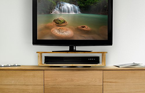 Prosumer's Choice Bamboo 360 Degree Rotating Flat Screen TV Stand with Home Entertainment Shelf