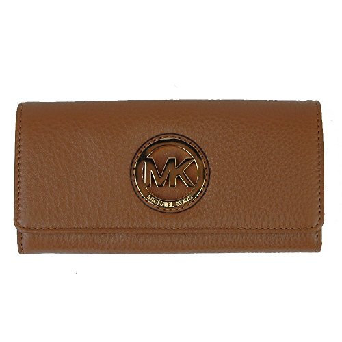 Michael Kors Fulton Flap Luggage Brown Pebbled Leather Wallet (Brown Pebbled)