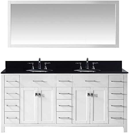 Virtu USA MD-2172-BGRO-WH Caroline Parkway Double Bathroom Vanity Cabinet Set