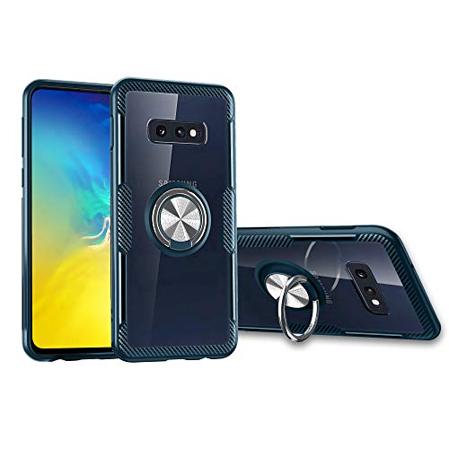 Orzero TPU + PC Hybrid Dual Layer Case for Samsung Galaxy S10e Full Body Protection 360 Rotating Metal Ring [Adsorbed Iron Plate, Work with Magnetic Car Mount]-Navy