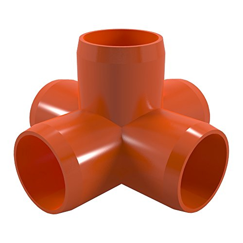 FORMUFIT F1145WC-OR-4 5-Way Cross PVC Fitting, Furniture Grade, 1-1/4